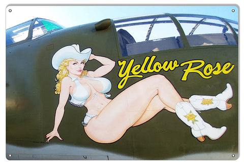 "Pin Up Girl Nose Art Reproduction Yellow Rose Aviation Sign 12""x18"