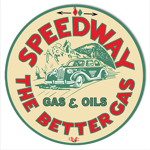 Speedway Motor Oil Reproduction Garage Shop Metal Sign 14″x14″ Round