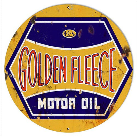 "Golden Fleece Motor Oil Reproduction Gasoline Sign 24""x24"" Round"