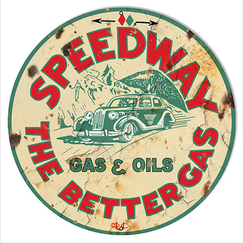 Speedway Motor Oil Aged Looking Reproduction Garage Shop Sign 14″x14″ Round
