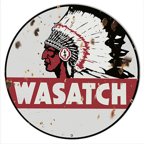 Wasatch Motor Oil Aged Looking Reproduction Gas Station Sign 14″x14″ Round