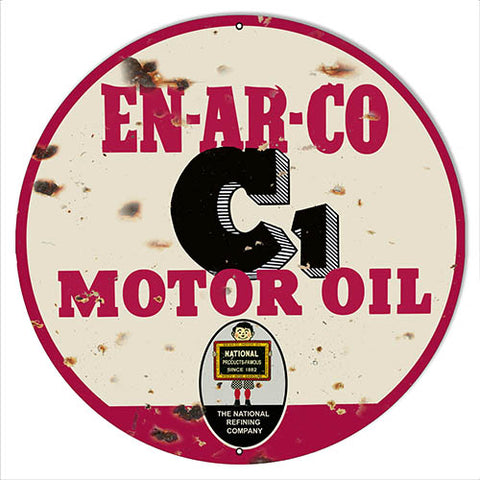 EN-AR-CO Motor Oil Aged Looking Reproduction Gas Station Sign 14″x14″ Round