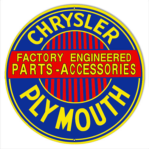 Chrysler Plymouth Parts Reproduction Gas Station Sign 14″x14″ Round