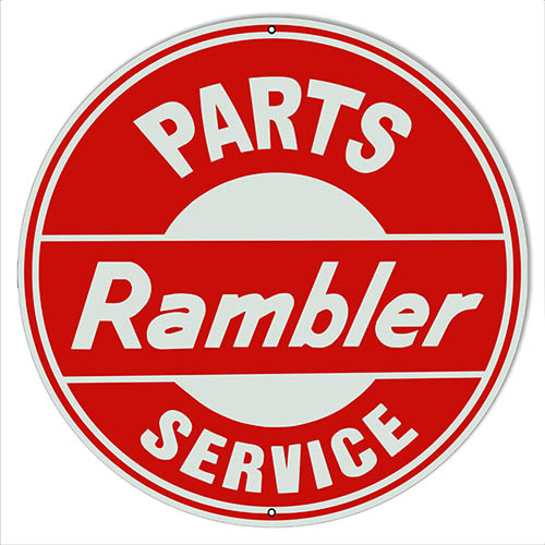 Rambler Parts Service Reproduction Motor Oil Sign 14″x14″ Round