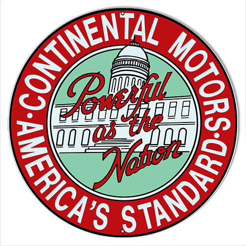 Continental Motors Reproduction Garage Shop Metal Sign 14″x14″ Round