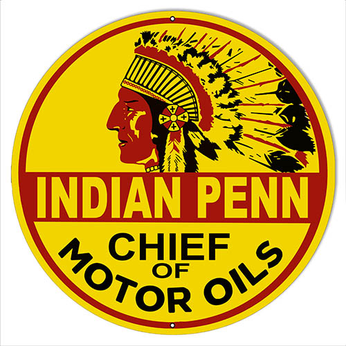 Indian Penn Motor Oil Reproduction Gas Station Sign 14″x14″ Round