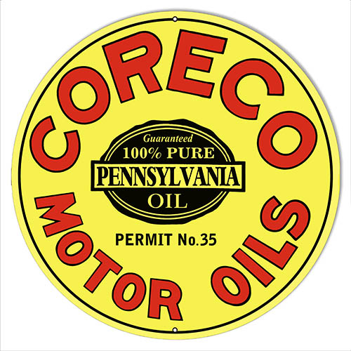 Coreco Motor Oils Reproduction Gas Station Sign 14″x14″ Round