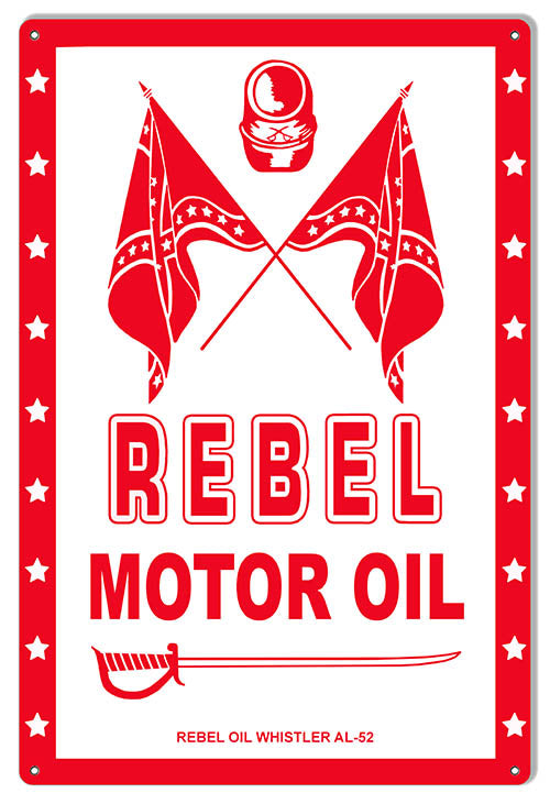 Rebel Motor Oil Reproduction Gas Station Sign 12″x18″