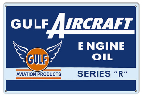 Gulf Aircraft Engine Oil Reproduction Aviation Sign 12″x18″