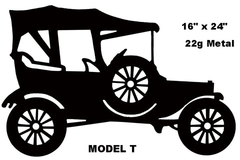 "Ford Model T Reproduction Hot Rod Laser Cut Out Silhouette Sign 16""x24"""