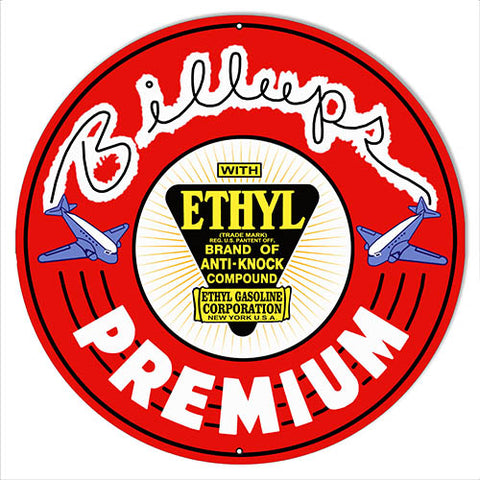 "Billups Premium Motor Oil Reproduction Gas Station Metal Sign 14""x14"" Round"