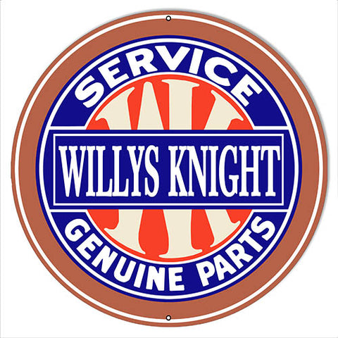 "Willys Knight Gas Station Reproduction Garage Shop Sign 14""x14"" Round"