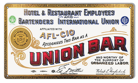 "Union Hotel And Restaurant Reproduction Bar Sign 12""x18"""