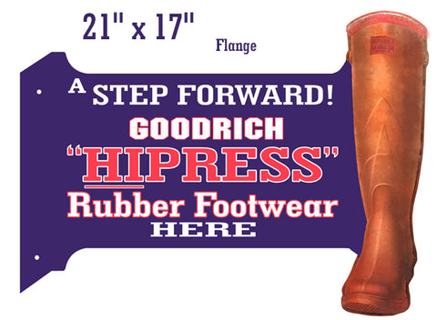 "Goodrich Rubber Boots Reproduction Flange Nostalgic Sign 17""x21"""