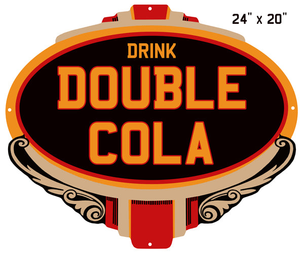 "Cola Double Drink Reproduction Laser Cut Out Nostalgic Sign 15""x20"""