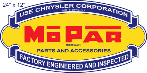 Chrysler Mo Par Parts Reproduction Cut Out Gas Station Sign 12″x24″