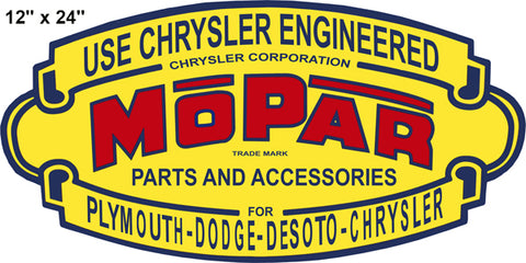Chrysler Parts Reproduction Laser Cut Out Gas Station Sign 12″x24″