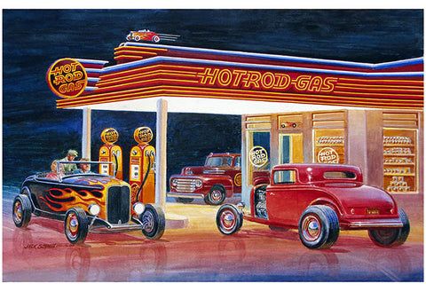 Ford Hot Rod Gas Station Reproduction Sign By Jack Schmitt 12x18