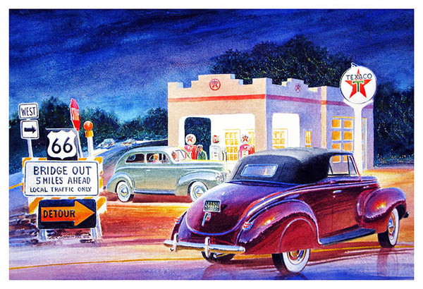 Texaco On Route 66 Reproduction Gas Station Sign By Jack Schmitt 12″x18″