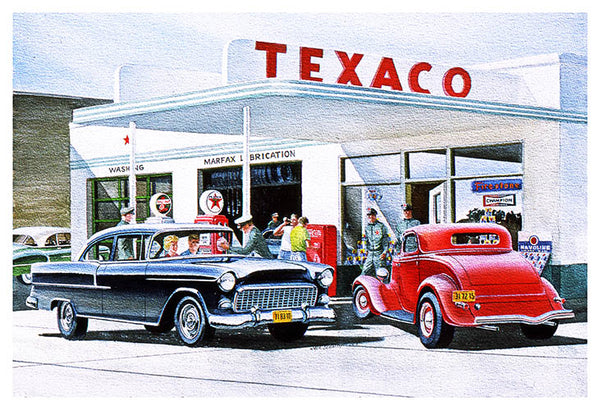 "Texaco Gas Station Buick Car Reproduction Sign By Jack Schmitt 12""x18"""