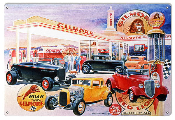 Gilmore Gas Station Hot Rods Reproduction Sign By Jack Schmitt 12x18