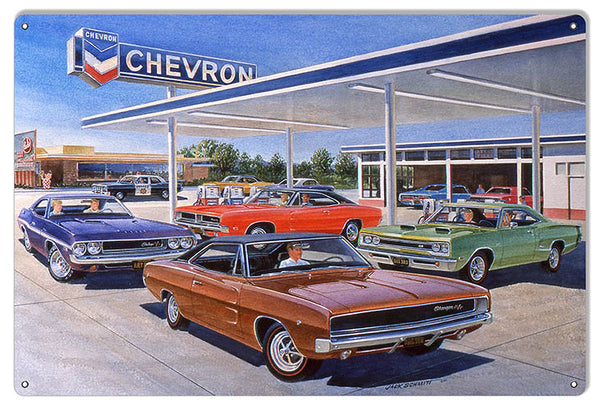 Chevron Gas Station Reproduction Garage Sign By Jack Schmitt 12x18