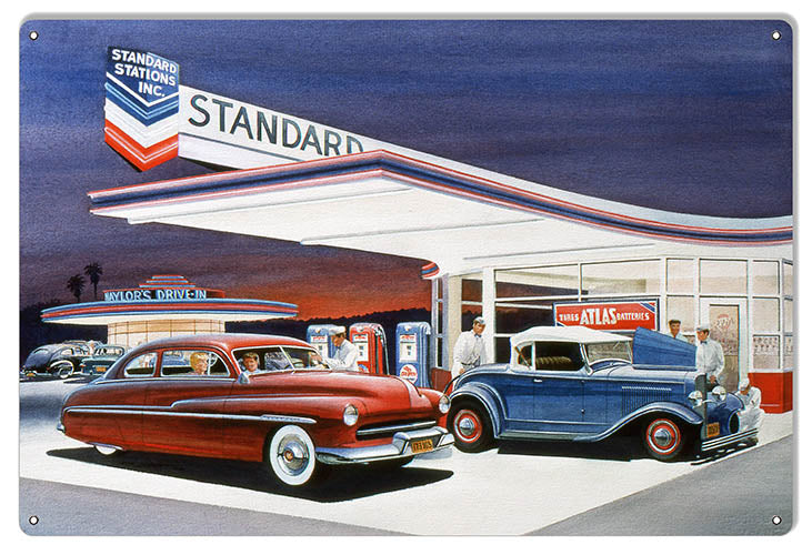 Chevron Standard Gas Station Reproduction Sign By Jack Schmitt 12x18