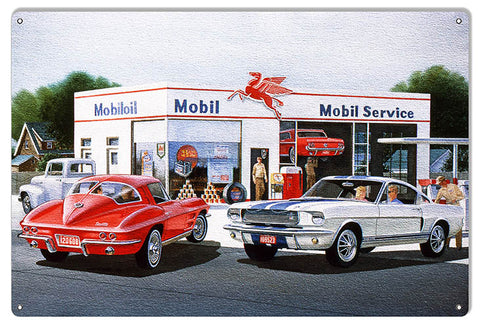 Mobil Pegasus Gas Station Reproduction Sign By Jack Schmitt 12x18