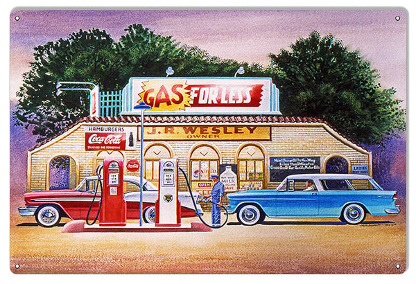 Gas For Less Gas Station Reproduction Sign By Jack Schmitt 12x18