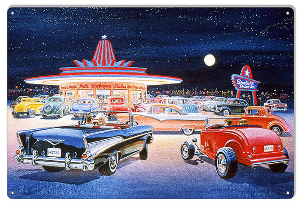 Hot Rods At Drive In Reproduction Garage Sign By Jack Schmitt 12x18