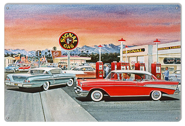 Signal Gas Station Reproduction Motor Oil Sign By Jack Schmitt 12x18