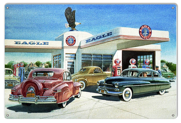 Eagle Gas Station Reproduction Motor Oil Sign By Jack Schmitt 12x18