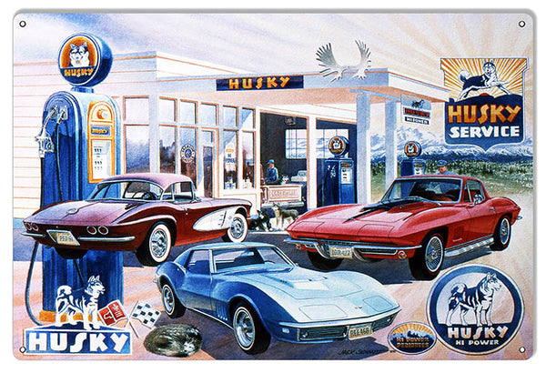 Husky Gas Station Reproduction Motor Oil Sign By Jack Schmitt 12x18