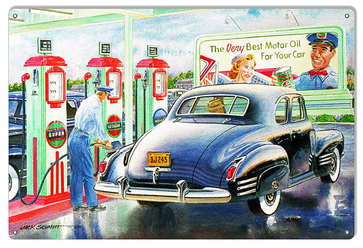 Super Motor Oil Reproduction Gas Station Sign By Jack Schmitt 12x18