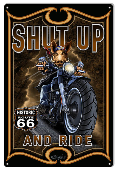 Route 66 Reproduction Motorcycle Hog Sign By Steve McDonald 12x18