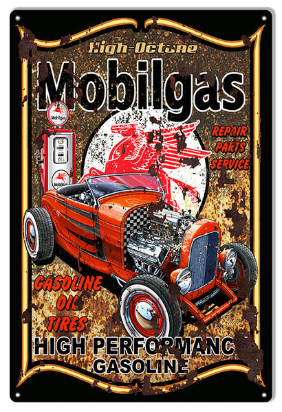 Pegasus Mobilgas Hot Rod Sign By Steve McDonald 12x18
