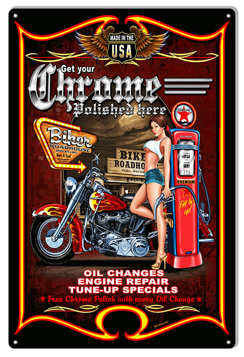 Pin Up Girl Chrome Polish Motorcycle Sign By Steve McDonald 12x18