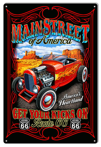 Hot Rod Main Street Route 66 Garage Art Sign By Steve McDonald 12x18