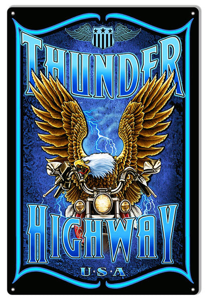 Motorcycle Thunder Garage Shop Man Cave Sign By Steve McDonald 12x18