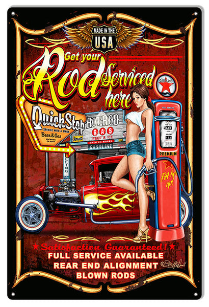 Hot Rod Serviced Here Garage Shop Sign By Steve McDonald 12x18
