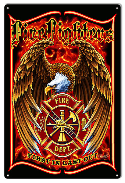 Fire Fighters Patriotic Fire Department Sign By Steve McDonald 12x18