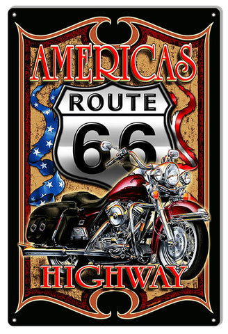 Route 66 Americas Highway Motorcycle Sign By Steve McDonald 12x18