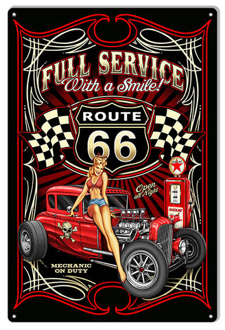 Hot Rod Route 66 Full Service Gas Station Sign By Steve McDonald 12x18