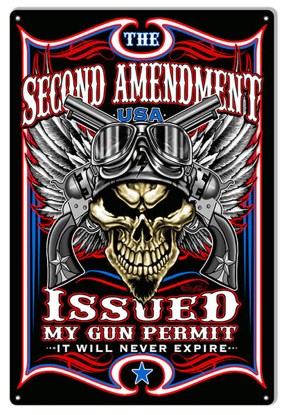 Gun Permit Issued Garage Art Man Cave Sign By Steve McDonald 12x18