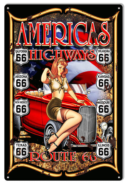 Route 66 Pin Up Girl Hot Rod Man Cave Sign By Steve McDonald 12x18