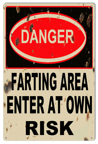 Danger Farting Area Reproduction Funny Warning Sign 12x18