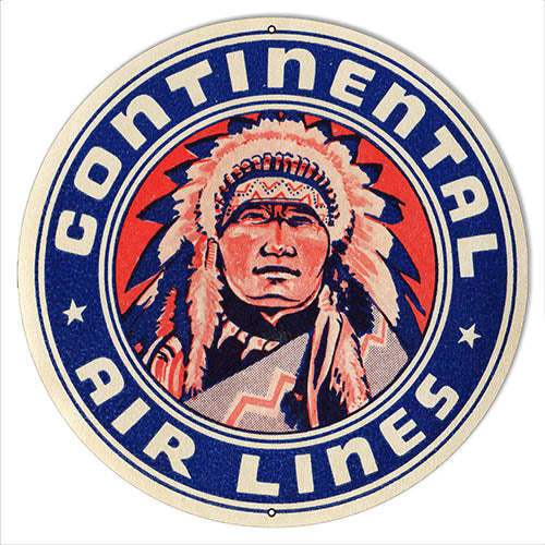 Continental Airlines Reproduction Nostalgic Metal Sign 14x14 Round
