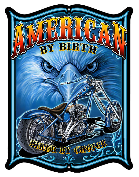 American Biker Cut Out Garage Shop Sign By Steve McDonald 14x18
