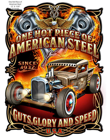 Guts Glory Speed Cut Out Hot Rod Sign By Steve McDonald 12x15.8