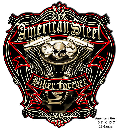 Steel Biker Forever Cut Out Motorcycle Sign By Steve McDonald 13.8x15.